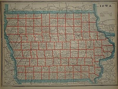 Vintage 1893 Iowa Map Old Antique Original Atlas Map Free S&H 33117