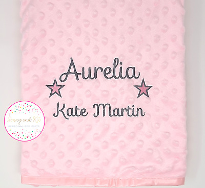 Personalised Baby Boy Girl Gender Neutral Blanket, Custom Embroidered Gift,Stars