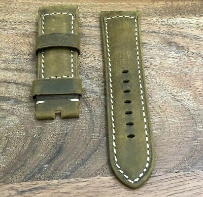 24Mm Officine Panerai Suede Genuine Leather Vintage Replacement Watch Band Strap