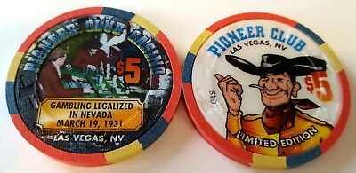 $5 Las Vegas Pioneer Club Gambling Legalized Casino Chip - Uncirculated