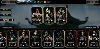 MORTAL KOMBAT MOBILE Account MKX + MK11 Characters (Android - READ  DESCRIPTION!)