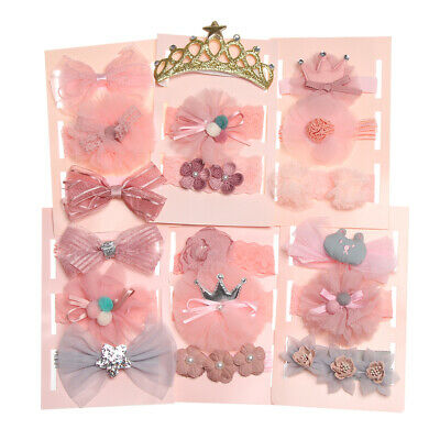 Gift Box Baby Girl Newborn Elastic  Hair Band  Headband Crown Flower Bows