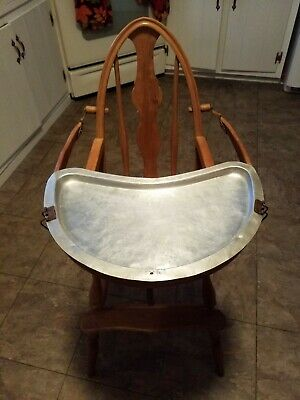 Antique convertible high chair 1927 With Metal Aluminum Tray