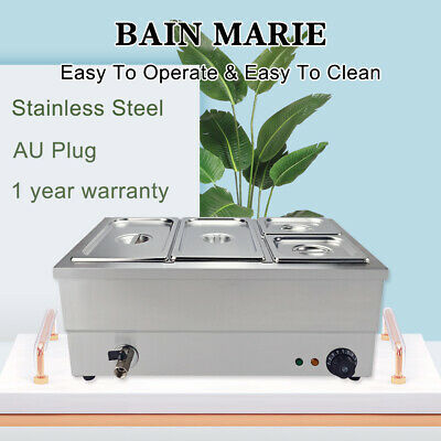 4 Pan Bain Marie Electric Heat Food Warmer 2x1/3+2x1/6 GN Trays Stainless Steel