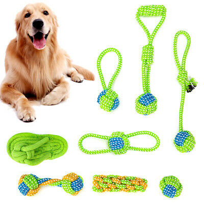 Dog Cotton Rope Toys Pet Puppy Tug Play Chew Toy Braided Funny Interactive Toys