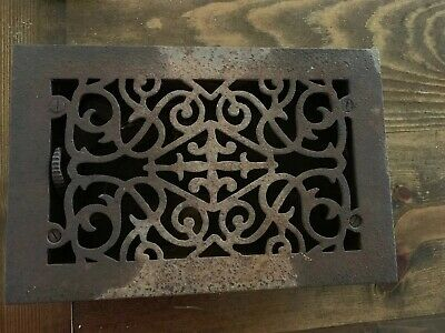 Antique Victorian Cast Iron Floor Heat Grate Register With Frame And Louvers VG