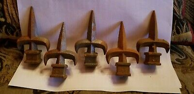"5 Vintage Antique Fleur de Lis Finials Metal 4""H x 2.5""W"