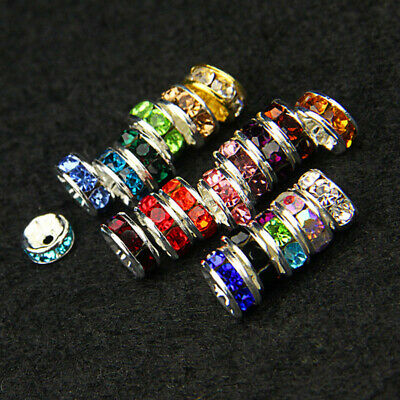 DIY 100pcs 8MM Metal Silver Plated Crystal Rhinestone Rondelle Spacer Beads
