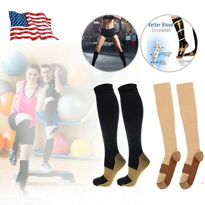 Pair Copper Infused Compression Socks Knee High 20-30mmHg Graduated Mens Womens