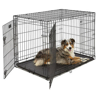 """42"""" Dog Crate Fold Metal Pet Cage Kennel House for Animal 2 Door w/Divide w/Tray"""