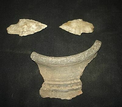EXTREMELY ANCIENT FLINT ARROWHEADS & SHARD! 5000 years old! 3000BC~~~no reserve