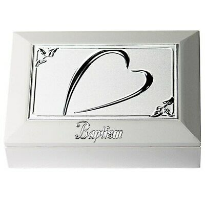 Jewellery box white wooden heart design plate and velvet interior
