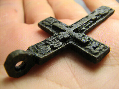 Rare !  Big ! Relief ! Nice Late Medieval Orthodox Bronze Cross Pendant #1284
