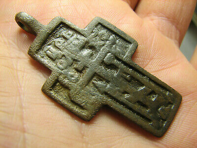 Very Rare.big ! Relief ! Nice Late Medieval Orthodox Bronze Cross Pendant #1289