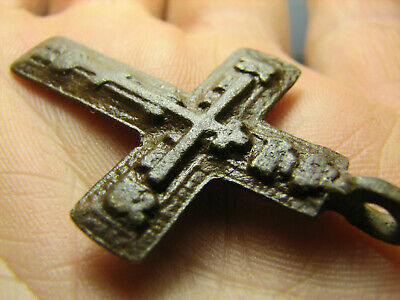 Rare !  Big ! Relief ! Nice Late Medieval Orthodox Bronze Cross Pendant #1290