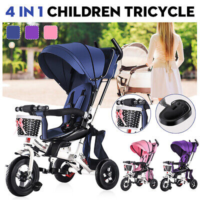 Kids 4 in 1 Trike Tricycle Bike Children Ride On Trike Bike Stroller + Handle