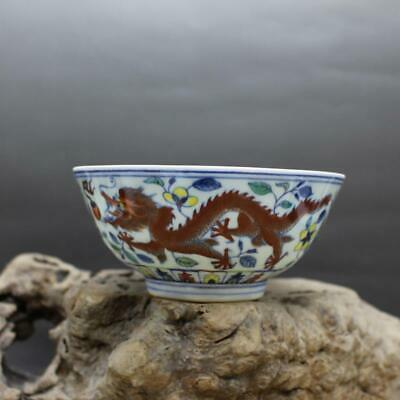 Chinese ancient antique hand make Dragon and Phoenix pattern Bowl s195
