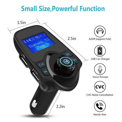 Auto Bluetooth FM Transmitter USB Audio MP3 SD TF KFZ Freisprechanlage Handsfree