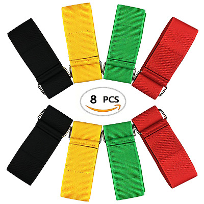 ZXSWEET 8Pcs 3-Legged Race Bands Elastic Tie Rope Strap Band with 4 Assorted for