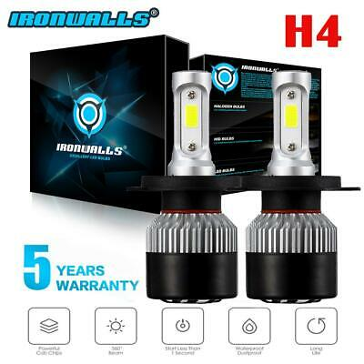 2X IRONWALLS H4 9003 HB2 LED 72W 9000LM High Low Beam Headlight Kit Bulbs 6500K