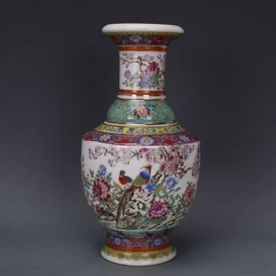 Chinese ancient antique hand make Flower and bird vase  s244