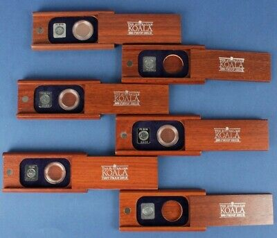 Australia: 6x ½oz Platinum Koala Proof Wooden Cases (no coin), 5 with medals
