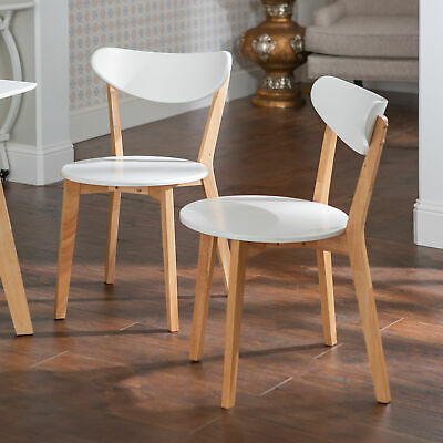 "Delacora WE-BDHWRM2  Alpine 21"" Wide Two Piece Wood Dining Chair Set - White"