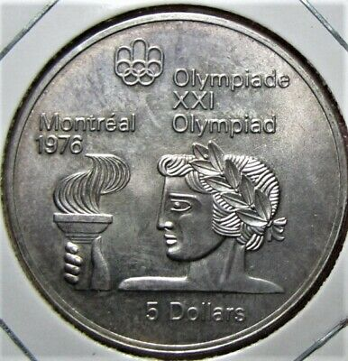 1974 Canada $5 Sterling Silver - Summer Olympic Games - 24gm - Torch
