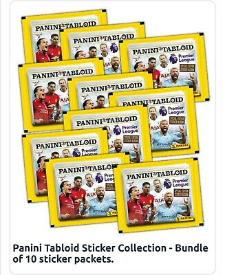 Panini Tabloid Premier League Stickers set of 10 PACKETS free postage