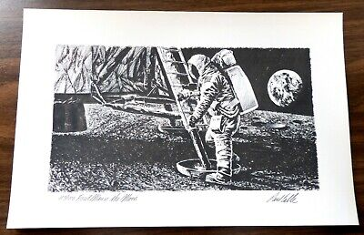 Apollo 11, 1969 First Man on the Moon by Paul Calle Ltd. Ed. Lithograph 683/1000