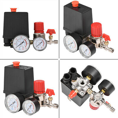 Air Compressor Valve 90-120PSI Manifold Gauges Regulator Pressure Control Switch