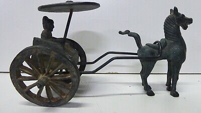 Huge Antique Chinese Hand Cast Bronze Statue Horse And Cart Chariot Wagon