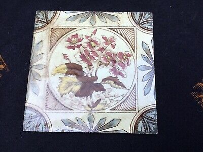 Victorian Edwardian Aesthetic Movement Tile Brown Cream Blue Yellow Floral