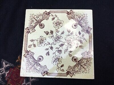 Victorian Edwardian Aesthetic Movement Tile Brown and Cream