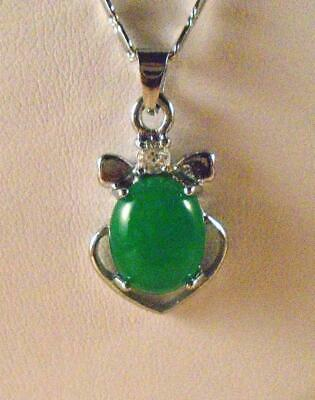Green Jade Pendant On Silver Plated 18 Inch Ribbon Chain New In Box
