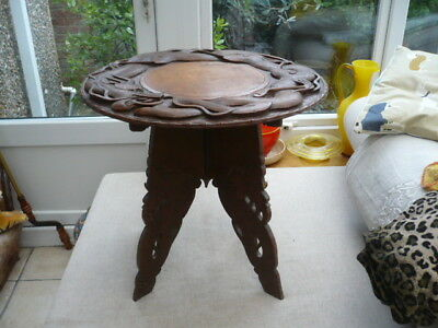 Antique quality wooden Chinese style table foldup  depicting carved dragons