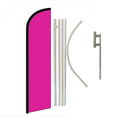 Solid Color Hot Pink Full Curve Swooper Windless Advertising Flag Magenta Flag