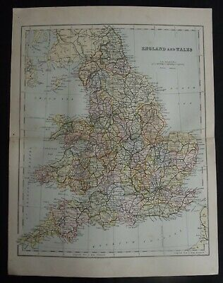 Antique Map: England & Wales, UK, Europe, c 1880, Colour