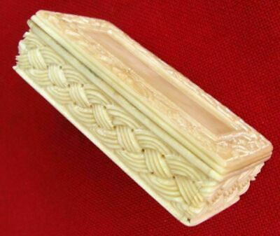 Antique 3 Dimensionally Hand Carved Minty Trinket / Ring / Snuff Box