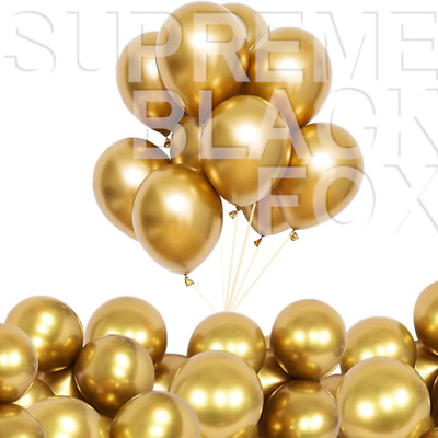 """50 Gold Metallic Balloons Chrome Shiny Latex 12"""" Thicken For Wedding Party Baby"""