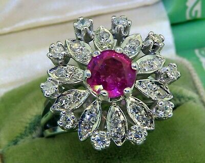Palladium Art Deco Diamond Pink Tourmaline Diamond Estate Solitaire Ring Rare