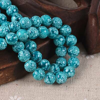 30pcs 8mm Lake Blue Spots Porcelain Imitated Coated Round Glass Loose Beads lot