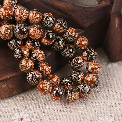 30pcs 8mm Brown & Black Spots Porcelain Imitated Coated Round Glass Loose Beads