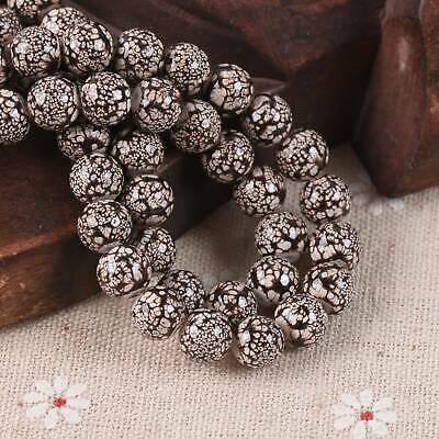 30pcs 8mm Brown & White Spots Porcelain Imitated Coated Round Glass Loose Beads