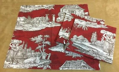 Three Large Dinner Napkins, English Toile Design, Chickens, Cows, Sheep, Trees