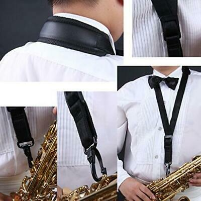 Adjustable Padded Sax Saxophone Neck Strap for Alto Tenor and Clarinet Black CZ