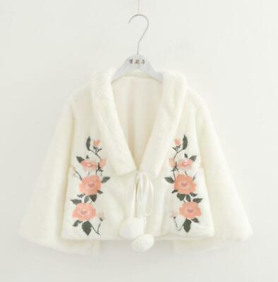 Womens Girls Lolita Faux Fur Floral Embroidered Pompom Cape Coat Outwear RWBN