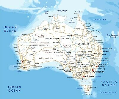 Large High detailed Australia road map with labeling Quality  poster Educational