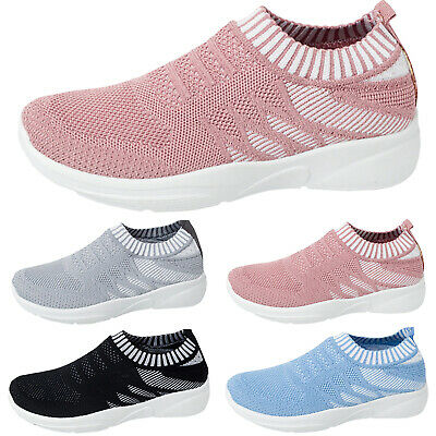Womens Mesh Air Cushion Sport Running Sneakers Sock Slip On Casual Shoes Loafers