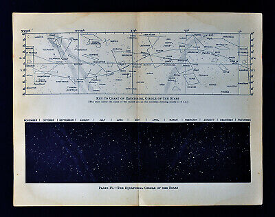 1897 Astronomy Print Equatorial Zone 50° Declination & Constellations Map Charts